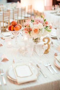Classic blush & peach tablescape