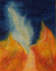 Olej na płótnie. Abstrakcja namalowana w czystych intensywnych kolorach.