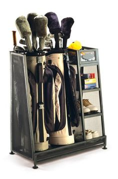 The #Suncast #golforganizer has room for two #golfbags, and a protective foam strip ensures that the shafts don't get scratched. It also includes three shelves and a five-inch bin you can use for storing shoes, balls, tees, and so on.