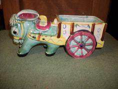 Vintage Donkey with Cart Planter Japan Ceramic Art Pottery | eBay