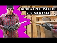 """Learn best way to dismantle a wood pallet with a sawzall.  Simeon Hendrix walks us through step by step the fastest, safest and easiest way to take apart a wood pallet using a sawzall.  This video is part of the tutorial """"How To Create A Beautiful Rustic Pallet Cabinet - The Complete Start To Finish Guide.""""  Please enjoy and share!  #pallet #homeimprovement #diy"""