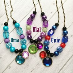 12 Descendants 2 Necklace Party Favors Mal Evie Uma Necklace Party Favor Descendants Party Favor Descendants Birthday Descendants Necklaces by MichelleAndCompany on Etsy