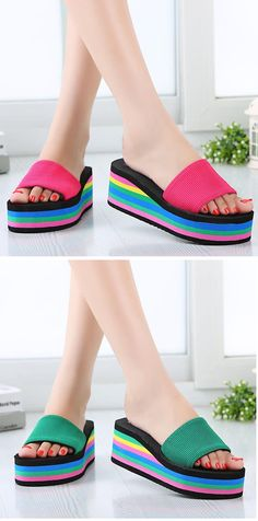 US$7.24 Colorful Rainbow EVA Peep Toe Platform Slip On Beach Slippers