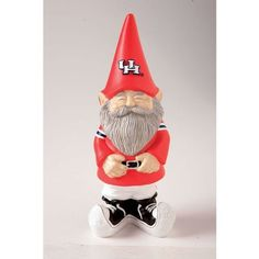 "University of Houston Garden Gnome by Fans With Pride. Save 24 Off!. $23.99. Packaged in a gift box. Scarlet red and albino white. 4.75""L x 11.25""H. Painted polystone. A perfect gift for a true fan. Decked out in scarlet red and albino white with Cougars pride showing from his pointy hat to his curled up shoes, this garden gnome cannot help but bring a smile to the faces of all who discover him. He grins as if celebrating victory, cheering on Houston from his place in the garden..."