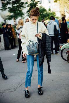 Rework jeans, ivory knit Discretos pero con condiciones