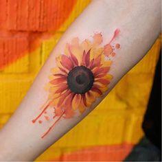 Sunflower tattoo by Joice Wang #JoiceWang#watercolor #graphic #nature #sunflower