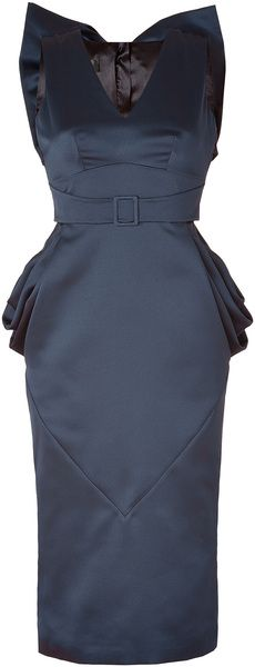 Blue Draped Hips Back Bow Dress - Lyst