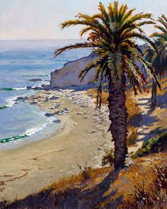 Refugio Beach California Landscape Painting John Comer Canvas Giclee This is a fine art canvas giclee print of a plein-air style oil painting by California Landscape artist John Comer . it features a majestic Palm tree rising tall above the white sandy Refugio Beach along the southern California coastline. http://www.enjoyart.com/single_posters/californialandscapes/JC26-Refugio-Beach-Painting-.htm