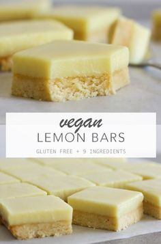 The best lemon bars with a creamy lemon filling on top of a soft buttery base. Vegan gluten free and 9 ingredients. The best lemon bars with a creamy lemon filling on top of a soft buttery base. Vegan gluten free and 9 ingredients. Desserts Végétaliens, Vegan Dessert Recipes, Health Desserts, Whole Food Recipes, Vegan Baking Recipes, Vegan Lemon Desserts, Vegan Gluten Free Desserts, Healthy Lemon Recipes, Easy Healthy Desserts