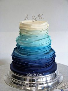 Wedding Cakes Blue Ombre Ruffles by Carol - http://cakesdecor.com/cakes/256903-blue-ombre-ruffles