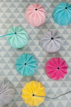 Origami Lamp Aqua colored hanging lampshade by TweelingenHomeDecor