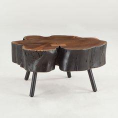 "Willow Black Stump 36"" Coffee Table in Organic Shape Acacia #dynamichome #table #homedecor #natural #organic #interiors #interiordesign #unique #furniture #stump #furniture #livingroom"