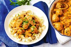For a classic makeover try this creamy chicken meatball stroganoff.