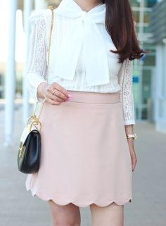 Blush pink scallop hem skirt, Chloe Drew crossbody bag - tips on how to buy pre-owned handbags // http://www.stylishpetite.com/2016/05/how-to-score-designer-handbags-for-less.html