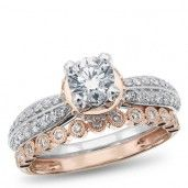 14K White and Rose Gold Diamond Engagement Ring, 1 1/6 ctw.