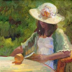 20 x 20 oil painting of girl in garden reading a book by California impressionist artist, Sally Rosenbaum Art Prints, Painting, Impressionist Paintings, Female Art, Art, Portrait Painting, Portrait Art, Garden Art, Painting Of Girl