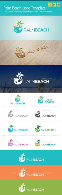 Palm Beach Logo — Vector EPS #logo #palm tree • Available here → https://graphicriver.net/item/palm-beach-logo-/12706154?ref=pxcr