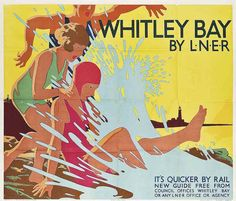 Whitley Bay by Tom Purvis, Purvis served in the Artists Rifles in WWI Posters Uk, Train Posters, Railway Posters, Art Deco Posters, Poster Prints, Transport Map, Public Transport, British Travel, Vintage Props