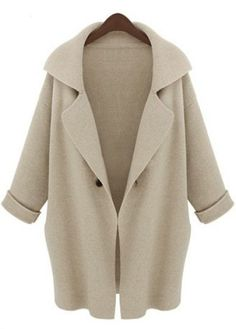 I discovered this Apricot Lapel Long Sleeve Loose Trench Coat - Sheinside.com on Keep. View it now.