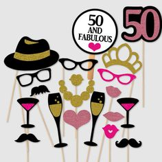 Celebrate your 50th birthday with this glittery gold, black and pink glitter themed prop set featuring 20 adult size pieces.  This Photo Booth Set includes the following full size pieces:  1- Pair of Black Thick Frame Glasses  4-Glitter Lips (Both Pink Glitters)  2-Black Margarita Drinking Glasses with pink details  2-Black colored Champagne Drinking Glasses with Gold Glitter details  1-Pink Glitter Heart  1-Necklace (Gold Glitter)  1-50 Number Sign (pink on black)  1-Fifty and Fabulous…