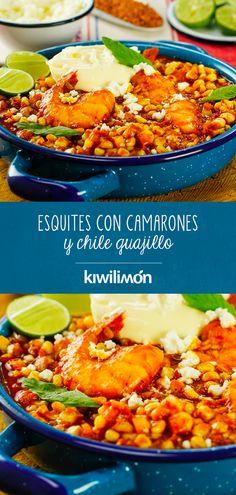 Esquites con Camarones y Guajillo Chile - Ensalada Marisco Ideas Shrimp Recipes, Mexican Food Recipes, Ethnic Recipes, Chile Guajillo, Mexico Food, Happy Foods, Seafood, Curry, Food And Drink