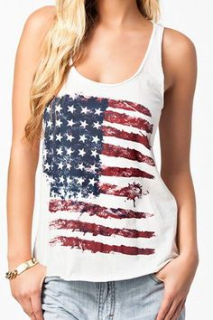 To find out about the White Scoop Neck American Flag Print Tank Top at SHEIN, part of our latest Tank Tops & Camis ready to shop online today! Fashion Mode, Fashion Clothes, Women's Fashion, Street Fashion, Trendy Fashion, Chaleco Casual, American Flag Tank, American Pride, American Girl