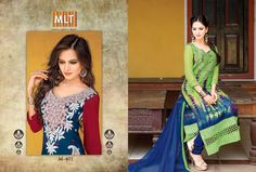 Rock the traditional #salwar #suits with trendy digital printed #MLT #suits having double daman with crosia work in front. Pair it with tight-fitted #churidars or #plazzo and be the next style diva.