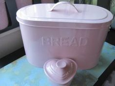 PINK Canister Set, Biscuit Jar and Bread Box/Bin RETRO Enamel BRAND NEW   eBay by annabelle Canister Sets, Canisters, Vintage Bread Boxes, Cottage Chic, Pretty In Pink, Barrel, Biscuits, Shabby, Enamel