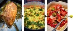 Friptura de ceafa de porc intreaga la cuptor, pilaf de orez, salata de legume coapte. Bruschetta, Ethnic Recipes, Food, Pork, Salads, Eten, Meals, Diet
