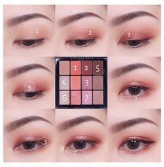 Makeup Korean Style, Korean Makeup Tips, Asian Eye Makeup, Eye Makeup Brushes, Skin Makeup, Eyeshadow Makeup, Ulzzang Makeup Tutorial, Makeup Looks Tutorial, Asian Makeup Tutorials