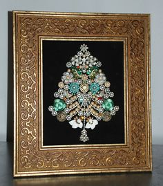 Vintage Costume Jewelry Rhinestones Christmas Tree