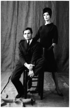 Pierre Cardin and model Ina Balke photographed by Jeanloup Sieff, 1960.