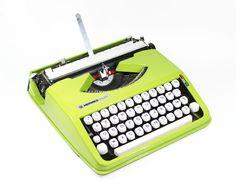 Green Cursive Hermes Baby Manual Typewriter. $275.00, via Etsy.