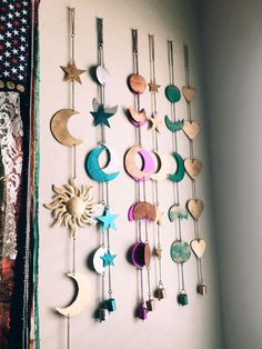Moon Phases Wall Hanging Decor : Bring the Moon's Magic into your Home Dedicated to the Moon Child who dreams more often than she sleeps The phases of the moon symbolize immortality and eternity. She represents emotion of the mind, b Moon Phases Wall Easy Home Decor, Handmade Home Decor, Home Decor Shops, Home Decor Accessories, Decorative Accessories, Boho Room, Purple Bohemian Bedroom, Gypsy Room, Pastel Decor