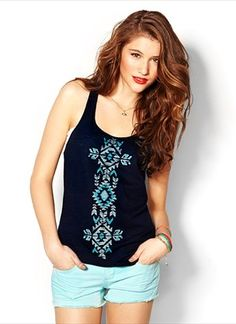 Aztec Tank With Twisted Back - Graphic Tees - Garage  Aztec Tee #2dayslook #kelly751 #AztecTee  www.2dayslook.com