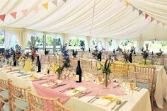 A country-themed wedding marquee at Ditton Field