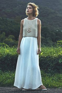 So pretty.  (Looks like a vacation dress to me, for sure!) Layered Sandstone Maxi Dress - anthropologie.com