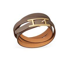 Hapi 3 MM Bracelet multi tours en veau Swift étoupe, fermoir plaqué or (tour de poignet <17 cm)