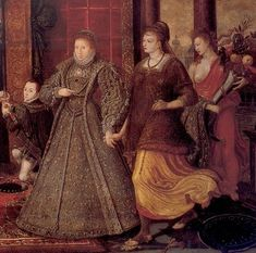 Crop of a larger portrait of the Tudor succession. In this allegorical portriat Elizabeth is on the right of her father Henry. She is holding the hand of Peace, and is being followed by Plenty. She is stepping on the sword symbolizing Discord. All important aspects that characterize her legendary reign.