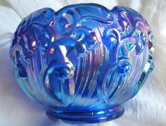 Fenton Cobalt Carnival Lily of the Valley Rose Bowl. circa early 1990s.