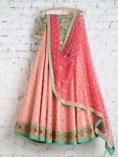 SwatiManish Lehengas SMF LEH 215 17 Candy pink lehenga with soft pink sequin dupatta and turquoise threadwork blouse Designer Bridal Lehenga, Indian Bridal Lehenga, Indian Bridal Wear, Indian Wear, Indian Style, Indian Ethnic, Indian Dresses, Indian Outfits, Indian Clothes