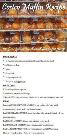 Costco Muffin Recipe - These are not bad, but nothing like Costco muffins. I used Betty Crocker French Vanilla cake mix as my base for the Almond Poppyseed muffins. I also only cooked them at 350 for 14 min. Costco Muffin Recipe, Muffin Recipes, Baking Recipes, Giant Muffin Recipe, Best Muffin Recipe, Breakfast And Brunch, Breakfast Recipes, Breakfast Muffins, Hardboiled