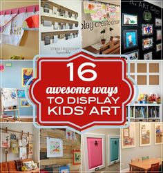 16 Ways to Display Kids' School Art Projects Do you need a way to corral all of the kids' pictures? You'll find help in these ways to display kids' school art projects. School Art Projects, Art School, Diy Projects, School Stuff, Displaying Kids Artwork, Artwork Display, Hang Kids Artwork, Art For Kids, Crafts For Kids
