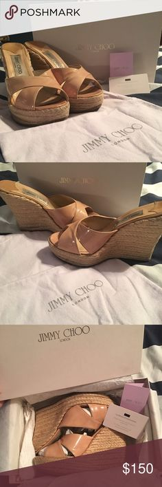 """Jimmy Choo Phyllis Wedge In excellent condition the patent has no scuffs or marks. Originally purchased at Saks Fifth Avenue for $375. Natural slight darkening of the straw in a few places, not noticeable when worn. Includes box, """"Jimmy choo"""" tissue paper, care card, authenticity card, and dust bag. Additional photos listed in my closet. Jimmy Choo Shoes Wedges"""