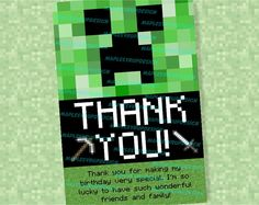 MINECRAFT Thank You Cards.