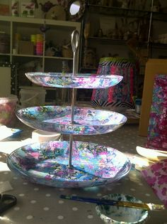 Decopatch cake stand. This looks amazing - well done Sara! Hunt in second hand shops and jazz up your bargains.