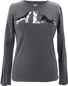Green 3 Womens 100 Organic Cotton Long Sleeve Yoga Dog TShirt Made in USA -- Check out this great product.