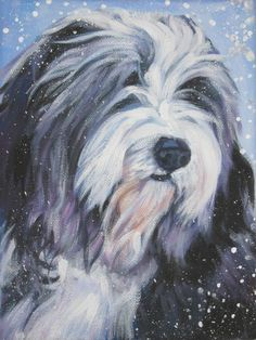 Bearded collie art CANVAS print of LA Shepard by TheDogLover Puppy Crafts, Bearded Collie, Dog Paintings, Original Paintings, Old English Sheepdog, Cute Animal Illustration, Illustration Art, Animal Drawings, Pencil Drawings