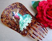 Vintage hair comb large faux tortoiseshell Spanish mantilla style hair accessory with painted Spanish dancer Spanish Hairstyles, Vintage Hairstyles, Vintage Hair Accessories, Vintage Hair Combs, Vintage Fabrics, Vintage Items, Spanish Dancer, Spain Fashion, Flamenco Dancers