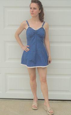 Vintage 40s Blue Pinup Swimsuit Bathing Suit XS S 34 by soulrust